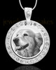 Photo Engraved Gem Circle Pet Pendant Stainless Steel