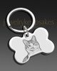 Keychain Pet Memorial Jewelry Silver Plated Bone Photo Engraved