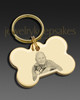 Keychain Pet Memorial Jewelry Gold Plated Bone Photo Engraved