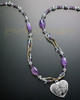 Elsie Necklace Purple Beads Heart Keepsake