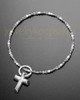 Luxury Compact Cross Sterling Cremation Bracelet