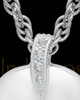 Cremation Pendant 14K White Gold Elliptical Heart Keepsake
