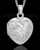 Cremation Jewelry 14K White Gold Daisy Heart Keepsake