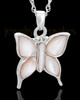 Cremation Charm 14K White Gold Dewy Butterfly Keepsake
