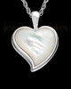 Cremated Remains Jewelry 14K White Gold Dewy Heart