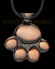 Copper Stainless Steel Petite Paw Cremation Pendant