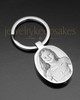 Stainless Oval Photo Engraved Cremation Keychain