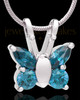 Sterling Silver Dancing Blue Butterfly Cremation Urn Pendant