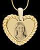 Gold Framed Heart Photo Engraved Pendant