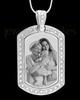 Silver Gem Rectangle Photo Engraved Pendant