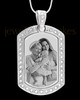 Silver Gem Rectangle Photo Engraved Pendant