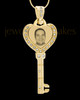 Gold Key To My Heart Photo Engraved Pendant
