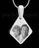 Silver Elongated Diamond Photo Engraved Pendant