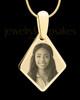 Gold Elongated Diamond Photo Engraved Pendant