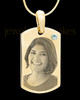 April Gold Photo Engraved Small Dog Tag