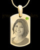 August Gold Photo Engraved Small Dog Tag