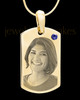 September Gold Photo Engraved Small Dog Tag