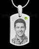 August Stainless Photo Small Dog Tag