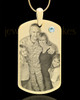 April Gold Dog Tag Photo Pendant