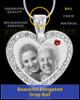 January Gem Heart Birthstone Stainless Photo Pendant
