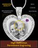 February Gem Heart Birthstone Stainless Photo Pendant