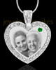 May Gem Heart Birthstone Stainless Photo Pendant