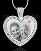 June Gem Heart Birthstone Stainless Photo Pendant