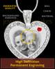 July Gem Heart Birthstone Stainless Photo Pendant