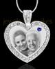 September Gem Heart Birthstone Stainless Photo Pendant