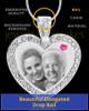 October Gem Heart Birthstone Stainless Photo Pendant