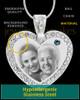 December Gem Heart Birthstone Stainless Photo Pendant