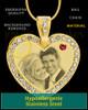 January Gold Gem Heart Birthstone Photo Engraved Pendant