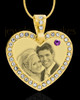 February Gold Gem Heart Birthstone Photo Engraved Pendant