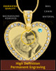 March Gold Gem Heart Birthstone Photo Engraved Pendant