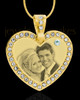 April Gold Gem Heart Birthstone Photo Engraved Pendant