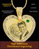 May Gold Gem Heart Birthstone Photo Engraved Pendant