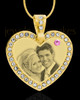 June Gold Gem Heart Birthstone Photo Engraved Pendant