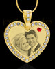 July Gold Gem Heart Birthstone Photo Engraved Pendant