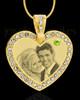 August Gold Gem Heart Birthstone Photo Engraved Pendant