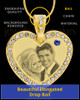 September Gold Gem Heart Birthstone Photo Engraved Pendant