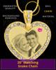 October Gold Gem Heart Birthstone Photo Engraved Pendant