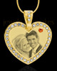 November Gold Gem Heart Birthstone Photo Engraved Pendant