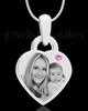 June Small Heart Stainless Photo Engraved Pendant