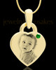 May Gold Small Photo Engraved Heart Pendant