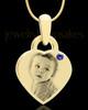 September Gold Small Photo Engraved Heart Pendant