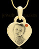 November Gold Small Photo Engraved Heart Pendant