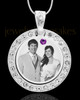February Birthstone Gem Circle Photo Engraved Pendant