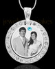 March Birthstone Gem Circle Photo Engraved Pendant