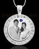 September Birthstone Gem Circle Photo Engraved Pendant