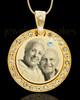 April Gold Gem Circle Birthstone Photo Pendant